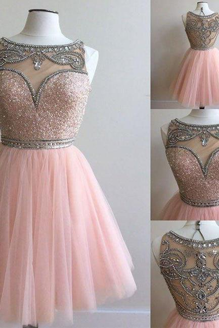 Beads Pink Short Homecoming Dress Party Dress