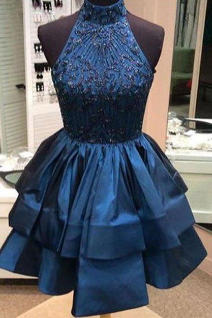 High Neck Short Beads Navy Blue Homecoming Dress Party Dress