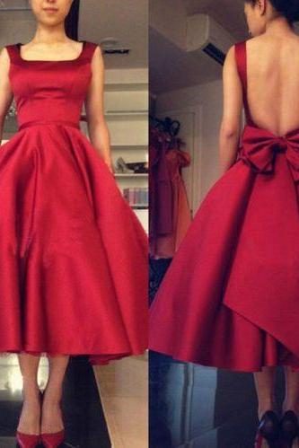 Princess A-line Red Backless Homecoming Dress with Ribbon