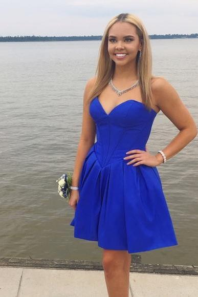 Strapless Sweetheart Short Royal Blue Homecoming Dress