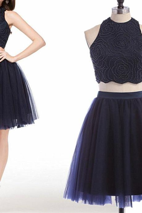 Navy 2 pieces Homecoming dress, Sexy Homecoming dress, 2017 Short Homecoming dress