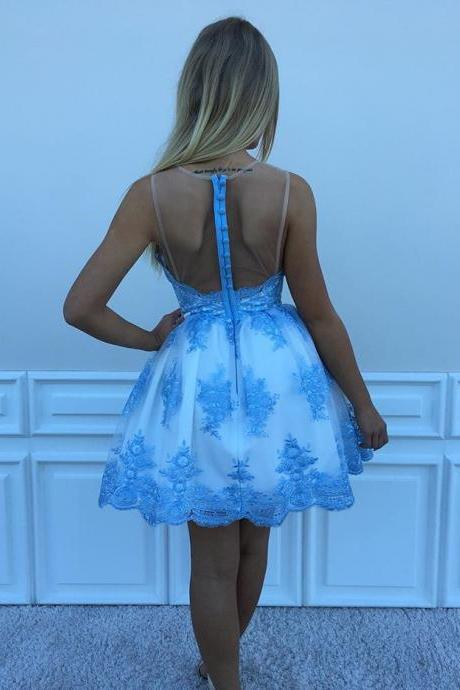 Cute A-line Blue Lace Short Homecoming Dress Party Dress