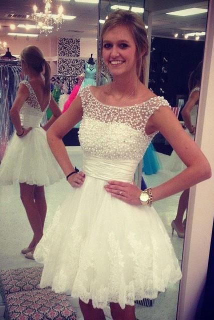 Princess White Homecoming Dresses,Pearl Beaded Short Prom Dresses