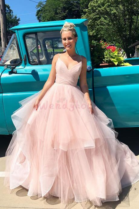 Pink Tulle Tiered Long Wedding Dress