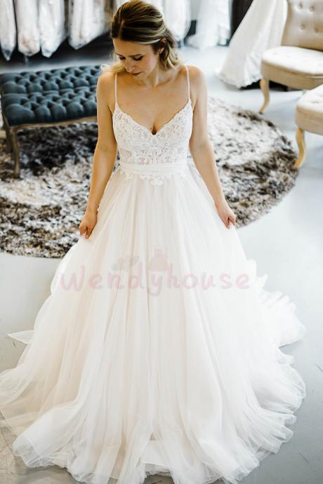 Ivory Straps Chiffon Long Wedding Dress with Bowknot