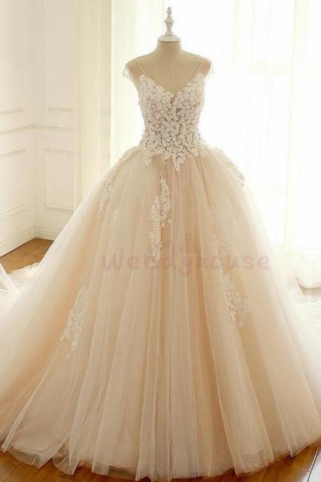 Ball Gown Ivory Flower Appliques Long Wedding Dress