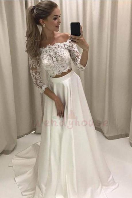 Two Piece Ivory Off-shoulder Three Quarter Sleeves Long Wedding Dress